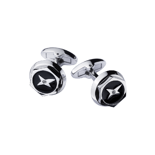 Cufflinks, steel, black lacquer, diamonds