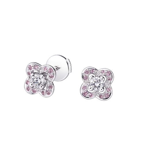 Chance of Love Anniversary Earrings , white gold and  pink sapphires