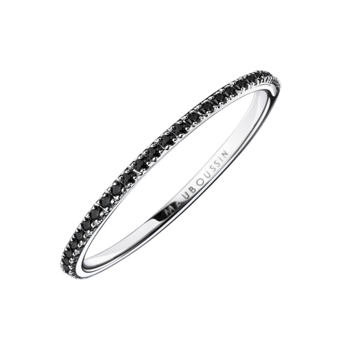 Wedding band Parce que je l'aime, white gold and black diamonds