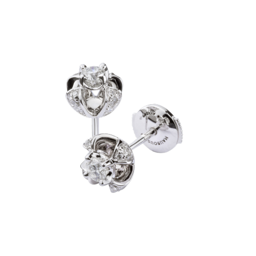 Earrings Sacré Désir, white gold, diamond