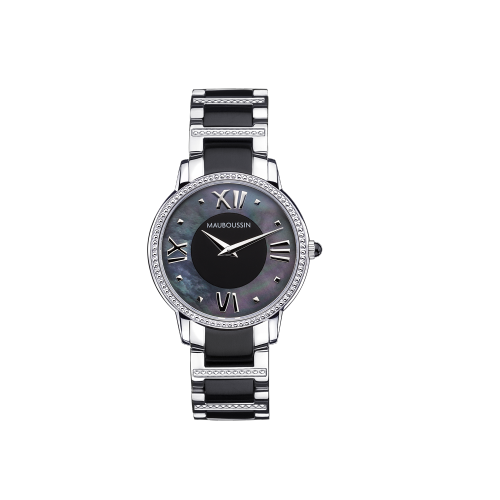 Jardin du Palais Royal watch, black mother of pearl dial, small