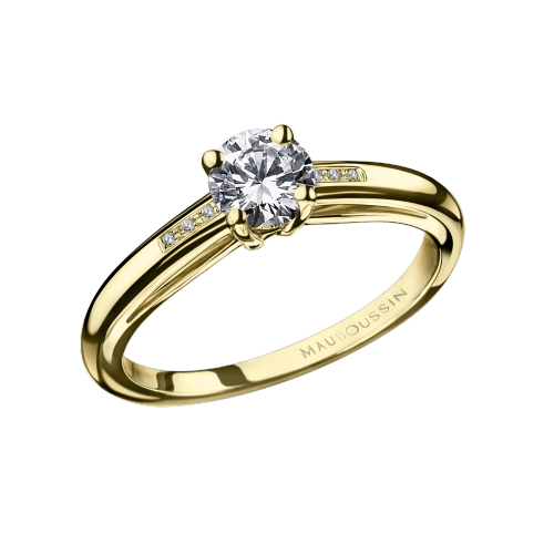 Tu es le Sel de ma vie N°3 engagement ring, yellow gold and diamonds