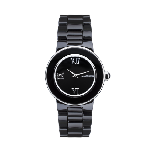 Amour la Nuit watch, black ceramic and roman numerals