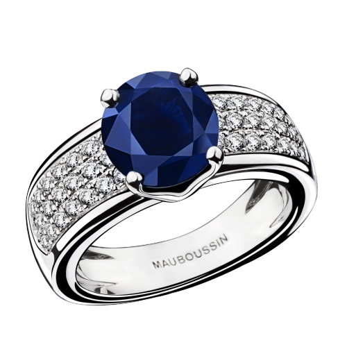 Ring Saphir de Toi, white gold, sapphire and diamonds