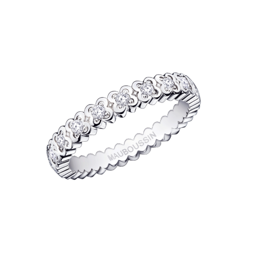 Amour de France wedding band, white gold and diamonds