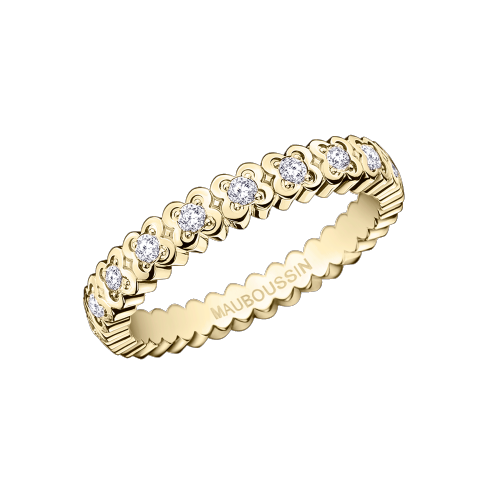 Amour de France wedding band, yellow gold and diamonds