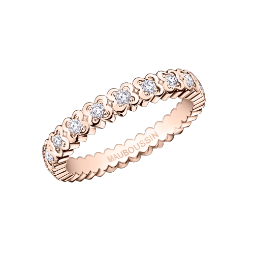 Amour de France wedding band, pink gold and diamonds