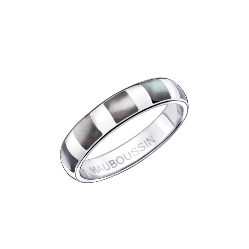 "Wedding ring ""Pur Demon"", white gold, mother-of-pearl"