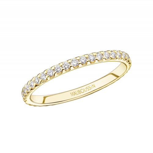 Bellissime wedding band, yellow gold and diamonds