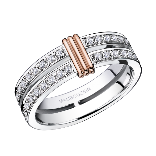 Wedding band Subtile Eternité, white gold, link in pink gold, diamonds