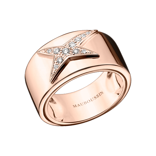 Etoile Divine N°1 ring, pink gold, diamond paved