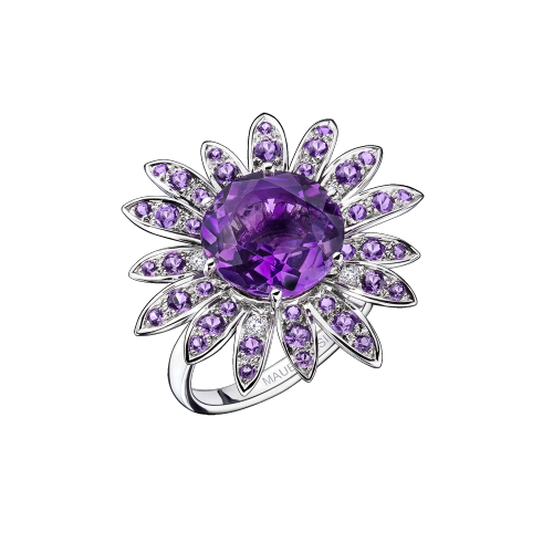 Les Nuits Mauves ring, white gold, amethysts and diamonds