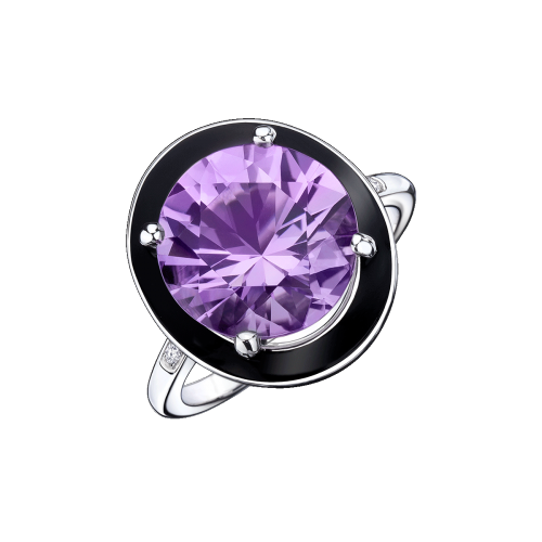Absolument Toi ring, white gold, amethyst, black lacquer and diamonds
