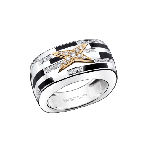 Le Jour de la Nouvelle Star ring, silver, yellow gold, black lacquer and diamonds