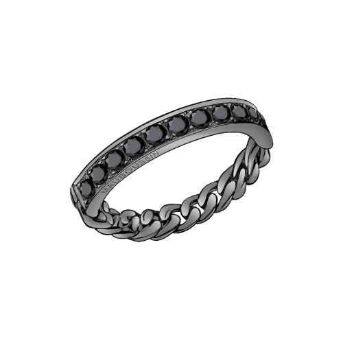 Mi-Chaine Mi-Diamant ring, black gold and black diamonds
