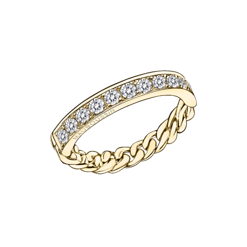 Mi-Chaine Mi-Diamant ring, yellow gold and diamonds