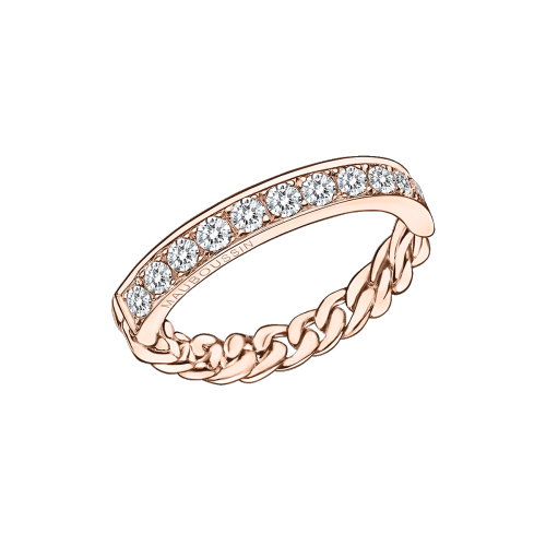 Mi-Chaine Mi-Diamant ring, pink gold and diamonds