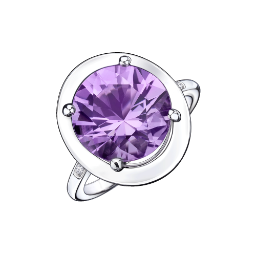 Ring Vraiment Jolie Mon Amour, white gold, amethyst and diamonds