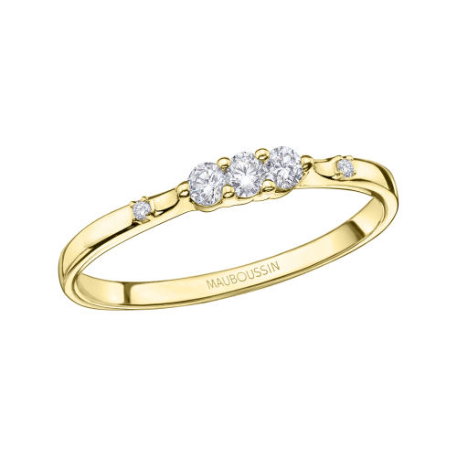 Bague Trois grains d'amour, or jaune, diamants