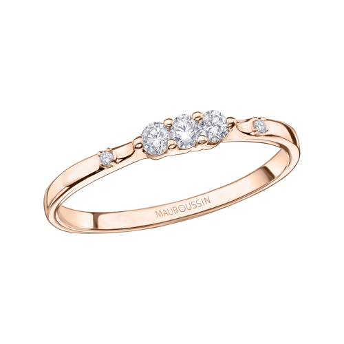 Bague Trois grains d'amour, or rose, diamants