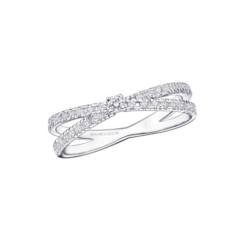 "Ring ""A la Croisée des Chemins"", white gold and diamonds"