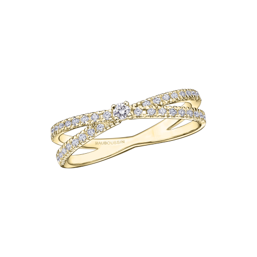 "Ring ""A la Croisée des Chemins"", yellow gold and diamonds"