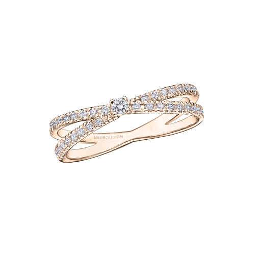 "Ring ""A la Croisée des Chemins"", pink gold and diamonds"