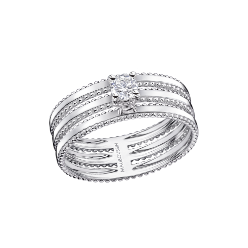 "Ring ""Jamais Plus Solitaire"", white gold, diamond 0,20 ct"
