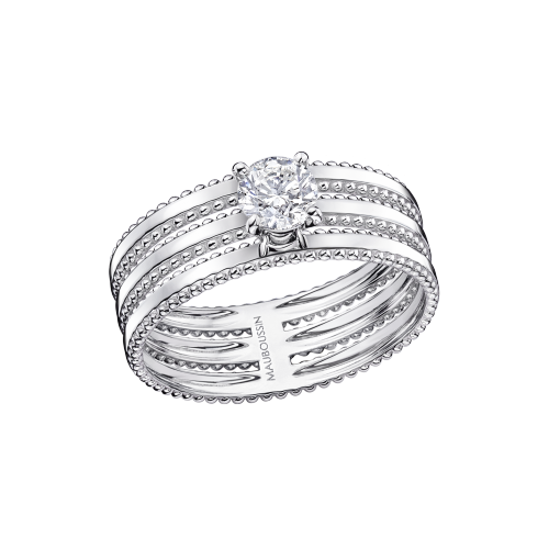 "Ring ""Jamais Plus Solitaire"", white gold, diamond 0,50 ct"