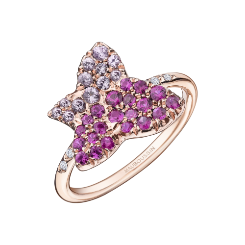 Tu es la Sublime Fleur de ma Vie ring, white gold set with rubies and pink sapphires