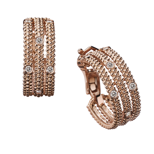 Le Premier Jour 3 row diamond earrings, pink gold