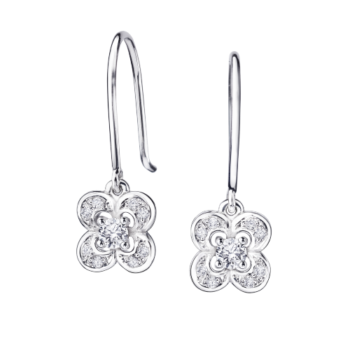 Boucles d'oreilles Chance Super One, or blanc et diamants