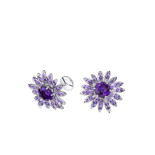 Les Nuits Mauves earrings, white gold, amethysts and diamonds