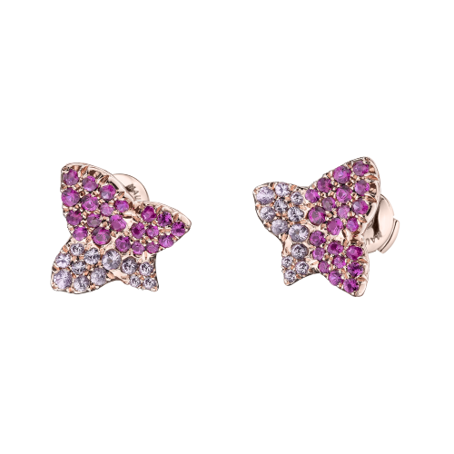 Tu es la Sublime Fleur de ma Vie earrings, pink gold set with pink sapphire and rubies