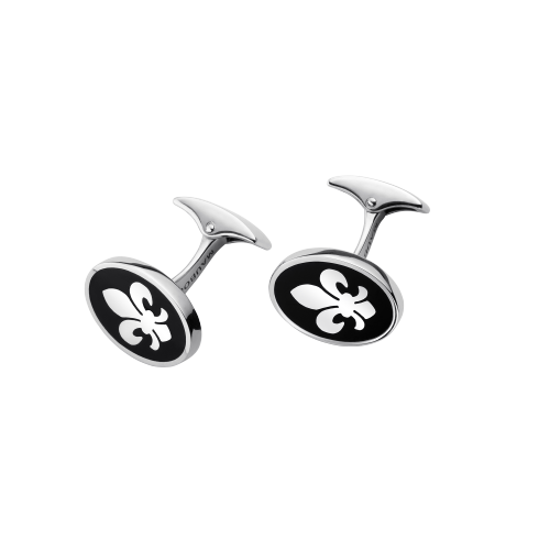 Lys Royal cufflink, silver and black lacquer