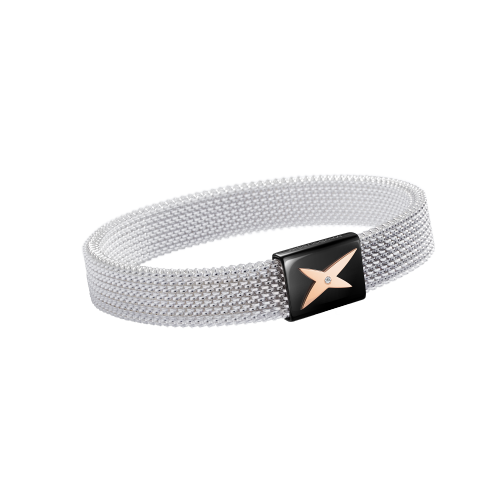 J'te Kiff wristband, white and pink steel, diamond