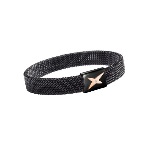 Wristband J'te Kiff, black steel and pink, diamond