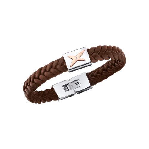 Mec j'te Kiff bracelet, brown leather, silver steel and diamonds