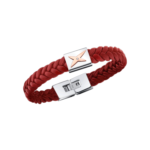 Mec j'te Kiff bracelet, red leather, silver steel and diamonds