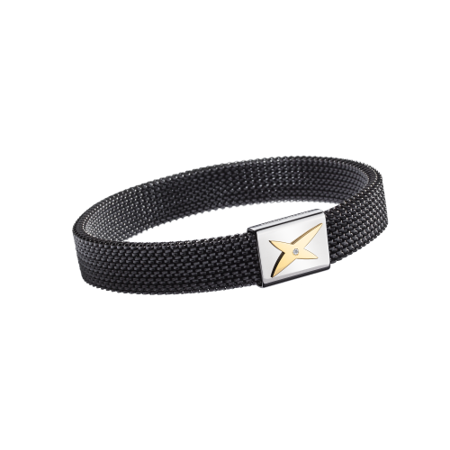 J'te Kiff wristband, black and gold steel, diamond