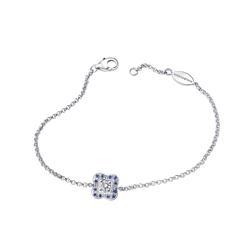 Chance's Cup bracelet, white gold, diamonds and sapphires