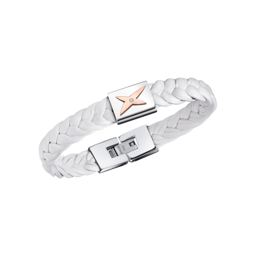 Mec j'te Kiff bracelet, black leather, silver steel and diamonds