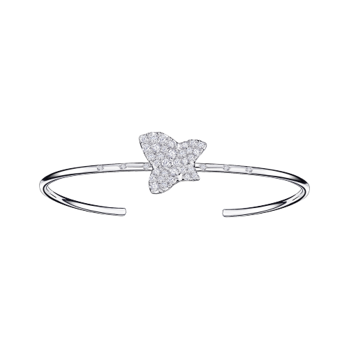 Tu es la Sublime Fleur de ma Vie bangle, white gold and diamonds