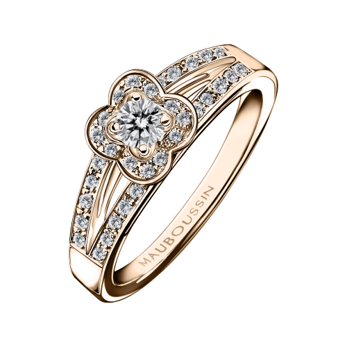 Solitaire Chance of Love N°1, or rose et diamants