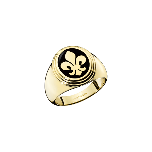 Lys Royal signet ring, yellow gold and black lacquer, large
