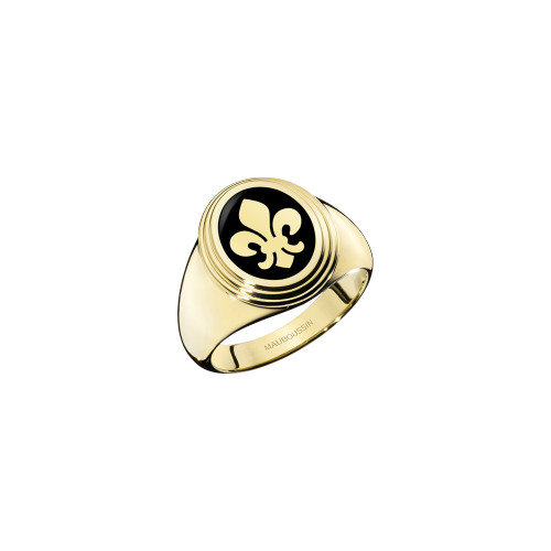 Lys Royal signet ring, yellow gold and black lacquer, small