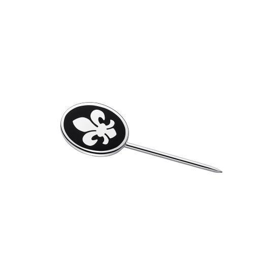 Lys Royal tie pin, silver and black lacquer