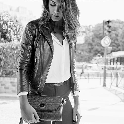 Je t'attends, je t'aime N°1 leather and canvas crossbody bag
