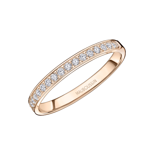 Lovissime Aussi Wedding Band, pink gold and half diamonds paved