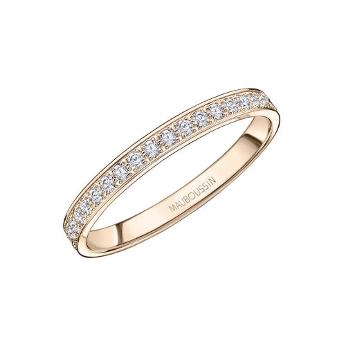 Lovissime Wedding Band, pink gold and diamonds